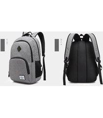 mochila mochila impermeable oxford de carga usb para hombre-gris