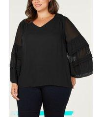 love scarlett plus size sheer blouson-sleeve blouse
