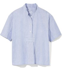 short sleeve cropped sleep shirt blue oxford stripe