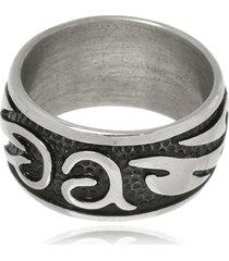 anel boca santa arabescos em aço inox - unisex