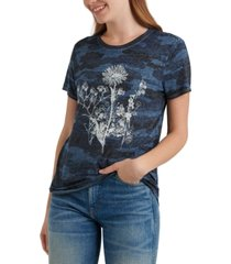 lucky brand floral-graphic camo-print t-shirt