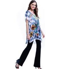 blusa 101 resort wear tunica decote v crepe fendas estampada floral.