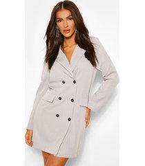 oversized blazer jurk met krijtstrepen, grijs