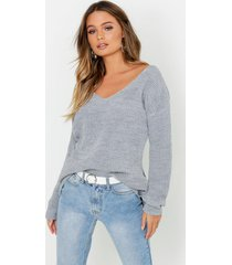 oversized v neck sweater, silver