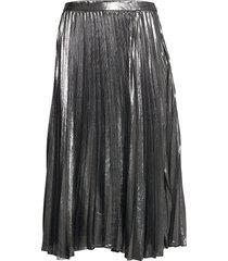 metallic pleated midi skirt knälång kjol silver banana republic
