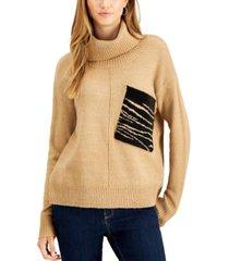 willow drive zebra-pocket turtleneck sweater