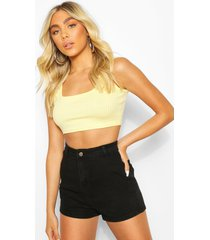 textured square neck crop top, yellow
