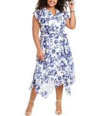 jessica howard plus size ruffled chiffon midi dress