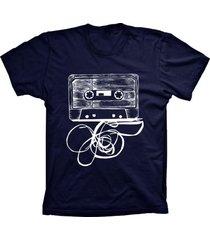 camiseta baby look lu geek fita k7 azul marinho
