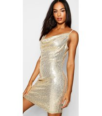 tall cowl neck sequin bodycon dress, rose gold