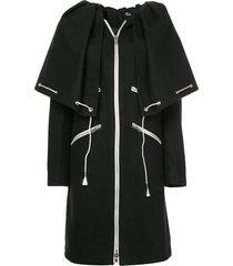 drawstring cape coat