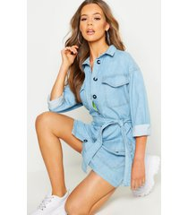 belted rigid denim oversized dress, light blue
