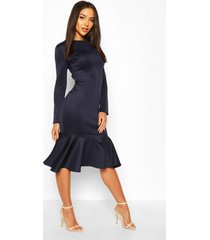 long sleeve fish tail midi dress, navy
