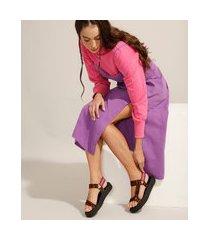 papete feminina de couro flatform tratorada estampada animal print de onça via mia multicor