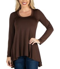 24seven comfort apparel long sleeve flared tunic top for women