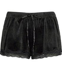 short velours scallop lace shorts svart hunkemöller