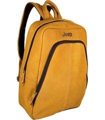 mochila de couro jeep adventure - yellow