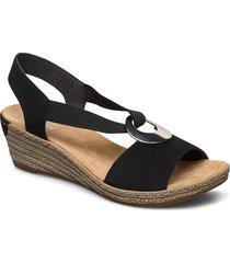 624h6-00 sandalette med klack espadrilles svart rieker