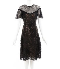prabal gurung black lace sheer midi dress beige/black/floral print sz: l