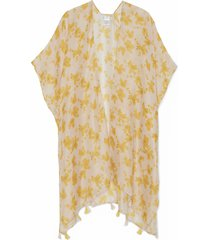 women's lightweight floral kimono with tassels cream multi one size from sole society