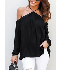 blusa de manga larga con cuello halter sexy negro