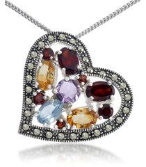 """multi-color stones & marcasite floating heart pendant on 18"""" chain in sterling silver"""