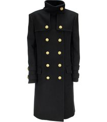 balmain wool and cashmere double-breasted long coat