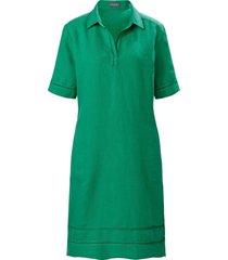 jurk 100% linnen korte mouwen van basler groen