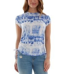 bcx juniors' printed ruched side-tie top