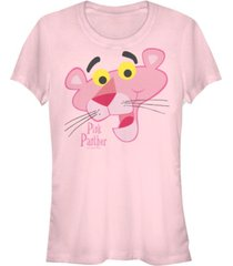 fifth sun pink panther women's big face short sleeve tee shirt