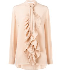 givenchy ruffled scarf neck blouse - neutrals