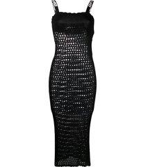 off-white open knit sleeveless dress - black