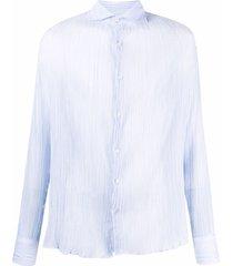 deperlu crinkle-effect fitted shirt - blue