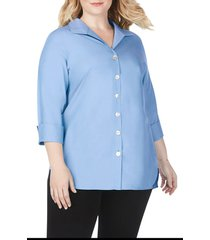 plus size women's foxcroft pandora non-iron tunic shirt, size 16w - blue