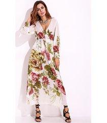 donne abito sexy profondo v stampa di fiore manica lunga maxi