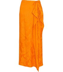 orange wrap midi skirt
