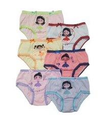 kit 6pçs  calcinhas ellie infantil  bailarinas rosa/amarela