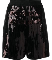 rick owens elasticated sequin-embroidered shorts - brown