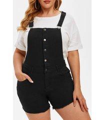 frayed hem pockets button front plus size short denim overalls