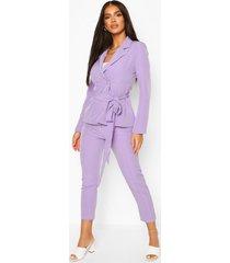 tie waist detail tailored blazer, lilac