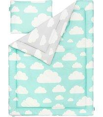 pościel dla dzieci chmurki mint & grey