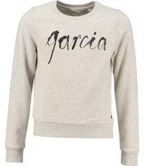 garcia grijze sweater met leerlook pailletten
