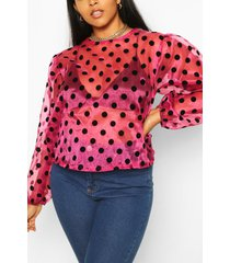 plus blouse van organza met stippen, roze