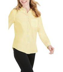 women's foxcroft the hampton button down shirt, size 14 - yellow