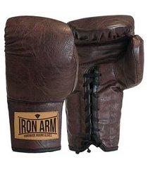 luva boxe muay thai classic couro café iron arm cadarço pu
