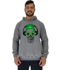 blusa moletom masculino alto conceito green skull mescla escuro