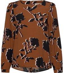 blouse long-sleeve blus långärmad brun gerry weber edition