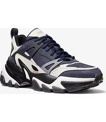 mk sneaker nick in pelle - indaco scuro (blu) - michael kors