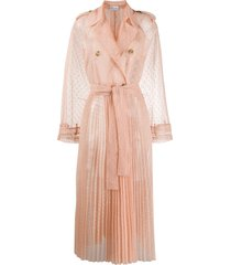 redvalentino tulle sheer trench coat - neutrals
