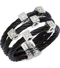 18k white gold, stainless steel & diamond multi-strand ring